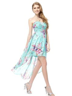Ever Pretty Strapless Rhinestones Ruched Bust Hi-Lo Floral Summer Dress 05094