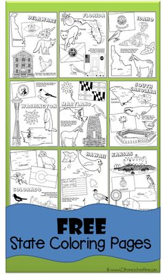 FREE State Coloring Pages to help kids learn about all 50 united states, perfect for preschool, prek Homeschool, Teaching Social Studies, Homeschool Printables, Kindergarten Social Studies, Homeschool History, Homeschool Geography, Teaching Geography, Abeka, 123 Homeschool 4 Me