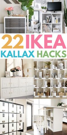 22 of the Best IKEA Kallax hacks for your bedroom, kitchen, and entryway. 22 of the Best IKEA Kallax hacks for your bedroom, kitchen, and entryway. These mid century KALLAX Ikea Kallax Hack, Diy Kallax, Ikea Kallax Bookshelf, Ikea Malm, Ikea Furniture Makeover, Ikea Furniture Hacks, Office Furniture, Furniture Storage, Furniture Ideas