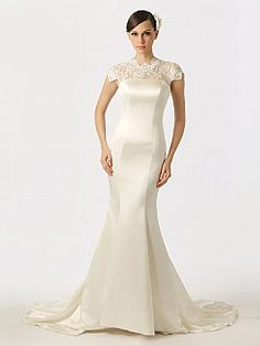 Lace Cap Sleeved Featured Satin Mermaid Wedding Dress with Buttons Back - USD $172.00