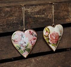 Vintage Rose Heart Decorations - Set of 2 | Vintage Hanging Decorations | Sass & Belle