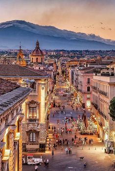 Catania at dusk, the second largest city of Sicily, Italy 🇮🇹️ Places To Travel, Places To See, Travel Destinations, Travel Tips, Places Around The World, Travel Around The World, Dream Vacations, Vacation Spots, Italy Vacation