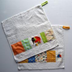 "cute patchwork on IKEA ""face washers."" aka, washclothes. I think..."
