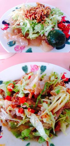Raw fish slices with veg, vinegar ginger, and chili is e best!!!