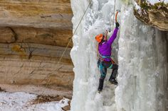 Picture of ice climbing in Pictured Rocks National Lakeshore Us National Parks, Parc National, Pictured Rocks National Lakeshore, Picture Rocks, Ice Climbing, Adventure Activities, United States, The Incredibles, Roads