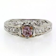 0.99 tcw Cushion Cut Natural Fancy Pink Colored Diamond Engagement Ring - EXCLUSIVE DEAL! BUY NOW ONLY $2715.0