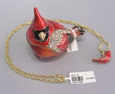 New Trinket Box Gift Painted Swarovski Crystals Cardinal Bird Animal Necklace