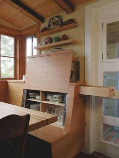 20 Top Secret Spots For Hidden Storage Around Your House. Some of these would be good for a tiny house. Tiny House Storage, Camper Storage, Tiny Spaces, Hidden Spaces, Tiny House Living, Living Room, Tiny House Plans, Tiny House Design, Small Space Living