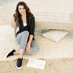 Oh, don't mind us. We're just lounging with our girl, @bridgetmoynahan, talking all things W-E-E-K-E-N-D.