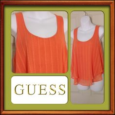 Guess Sleeveless Two Tier Shirt Orange. 100% Polyester. Size Medium. Guess Tops