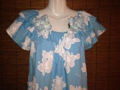 Muu Muu S Hawaiian Jade Fashion Baby Blue White Hibiscus Flowers Clips Aloha USA #Hawaiian #MuuMuu #Casual