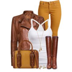 #outfit #leather # latherjacket #jacket #jackets #white #top #whitetop #bag #bags #cognac #cognaccolor #jeans #outfits #awesome #cool