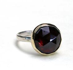 Garnet ring -Gemstone silver ring Recycled  Gold ring, Statement ring ,Cocktail ring MADE TO ORDER