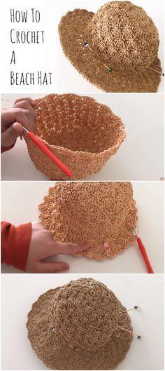 How to crochet a beach hat crochetopedia free slouchy crochet hat pattern with video tutorial and instructions Crochet Summer Hats, Crochet Cap, Crochet Motifs, Crochet Beanie, Love Crochet, Learn To Crochet, Easy Crochet, Crochet Stitches, Knitted Hats