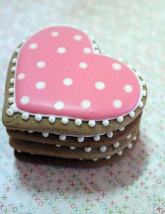 gingerbread Valentine Heart cookies, decorated with royal flow flood icing.