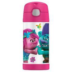 Portable Drinkware Thermos 12oz. Pink Trolls