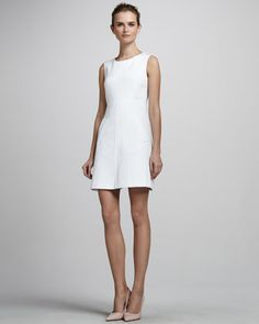 Capreena Minidress, White by Diane von Furstenberg at Neiman Marcus.  Would wear with some fun gold jewelery for a date night, or could dress down.