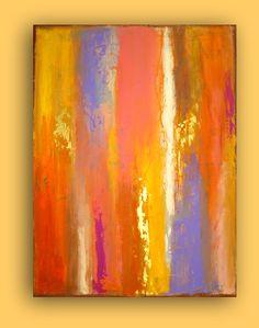 "Original Acrylic Abstract Painting Fine Art on Canvas Titled: FIRESIDE GLOW. 36x48x3/4"" by Ora Birenbaum. $465.00 USD, via Etsy."