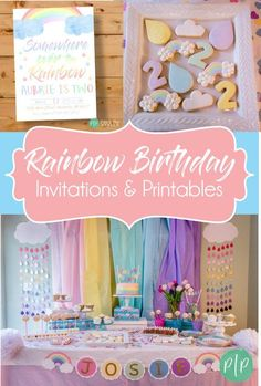 Rainbow Birthday Party, Rainbow Invitation, Rainbow Invite, Rainbow Baby Birthday Ideas