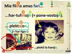 #migo #gramatiko #plekti #tufo #vosto #poneo #haro #knabino #virino #akuzativon Language, Baseball Cards, Movie Posters, Movies, Film Poster, Films, Speech And Language, Movie, Language Arts