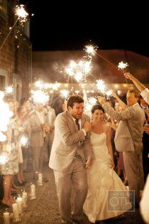 sparklers at the end of the night..way cooler than rice or bubbles