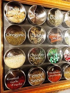 Spices & Herbs Labels set on IKEA magnetic storage canisters Kitchen Pantry Design, Kitchen Storage, Kitchen Decor, Kitchen Ideas, Medicine Organization, Spice Organization, Herb Labels, Ikea, Roasted Fennel