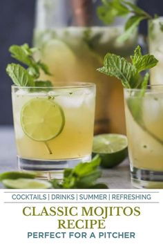 This Classic Mojito Recipe made in a pitcher will be the hit of every party! Made with mint and coconut sugar this easy summer cocktail recipe is a hit! Delicious and refreshing mojitos for everyone. #mojitos #mojitorecipe #cocktails #cocktailrecipe #refreshingcocktail