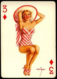 Alberto Vargas - Pin-up Playing Cards (1950) - 3 of Diamonds