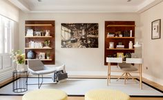 Modern apartment located in Spain, designed in 2017 by Natalia Zubizarreta Interiorismo. Pastel Living Room, Living Room Decor, Luz Natural, Shelf Design, Boutique Design, Wood Furniture, Modern Decor, Home Office, Beautiful Homes