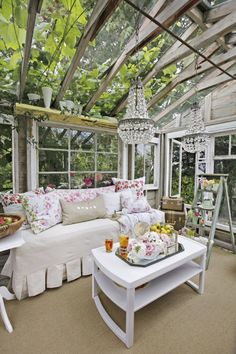 This glamorous space—complete with a breathtaking glass ceiling and sparkling chandelier—used to be a potting shed that was converted by the owner's husband as a wedding gift. See more photos of this space here.
