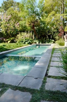 View of the grass – Lap Pool, Spa Swimming Pool landscaping network Calimesa, … - Garden Design Swimming Pool Landscaping, Small Backyard Pools, Natural Swimming Pools, Small Pools, Swimming Pool Designs, Modern Landscaping, Landscaping Ideas, Landscaping Costs, Landscaping Blocks