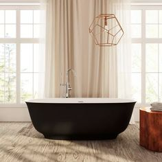 Perlato PLERAV6730-BK Ravenna Eco-lapistone Soaker Tub | QualityBath.com Soaker Tub, Black Exterior, Ravenna, Solid Surface, Clawfoot Bathtub, Polished Chrome, Bathroom, Design, Matte Black