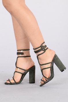 - Available in Olive - PVC With Suede Piping Detail - Ankle Strap Closure - 4 Inch Chunky Heel