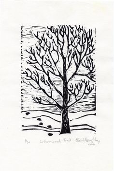 The Cottonwood Trail linocut Limited Edition by minouette on Etsy, $19.00