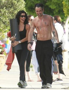 Colin Farrell laughed after a sweaty yoga session.