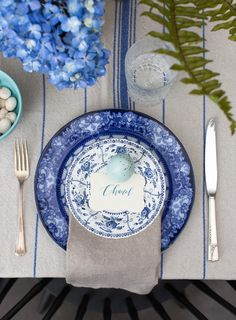 gorgeous blue easter table setting