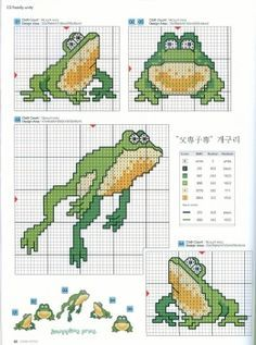 cross stitch frogs, pinterest - Pesquisa do Google