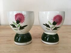 Two Stangl Thistle  Double Egg Cups Hand Painted Made in the USA 1950's Vintage #Stangl