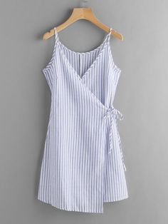 Vertical Striped Wrap Cami Dress 2019 - summer dress v neck summer dress vintage summer dress with sleeves summer dresses plus size blue summer dress linen summer dress blue blue dress blue dre Outfits Casual, Casual Dresses, Summer Outfits, Cute Outfits, Fashion Outfits, Summer Dresses, Dress Fashion, Cheap Fashion, Womens Fashion