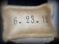 Custom Date Pillow, Burlap, BARNYARD LOVE, Shabby Chic, wedding, anniversary, housewarming. $22.99, via Etsy.
