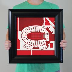 Camp Randall Stadium located at the University of Wisconsin in Madison, Wisconsin | College football prints from City Prints put you back in the stands on Saturdays. City Prints look like modern art and remind you of the unforgettable moments you experienced in your favorite seats