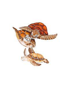 Sea Turtle Art for Nautical Nursery Ocean Art by TinyToesDesign, $24.00