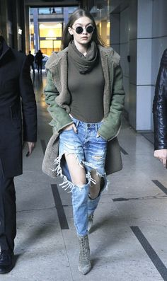 Gigi Hadid ripped jeans and bodysuit: