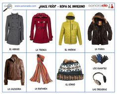 A1/A2 - Ropa de invierno. Spanish 1, Spanish Lessons, How To Speak Spanish, Spanish Teacher, Spanish Classroom, Teaching Spanish, Spanish Courses, Spanish Vocabulary, Spanish Activities