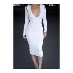 Rotita Plunging Neck White Long Sleeve Bodycon Dress ($20) ❤ liked on Polyvore featuring dresses, white, bodycon dress, white sheath dress, long sleeve sheath dress, plunging v neck dress and long sleeve dresses