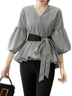 Buy Women's Blouse V Neck Lantern Sleeve Sash Gingham Top & Blouses - at Jolly Chic Muslim Fashion, Hijab Fashion, Fashion Outfits, Modest Dresses, Stylish Dresses, Sleeves Designs For Dresses, Elegantes Outfit, Mode Hijab, Fashion Sewing