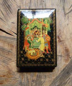 Russian lacquered box.  Kholui.  Tale of the Golden Cockerel.