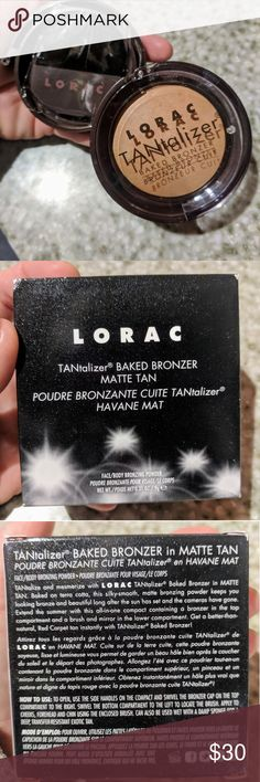 LORAC TANTALIZER BAKED BRONZER TANTALIZER BAKED BRONZER Matte Tan  TANtalize and mesmerize with LORAC TANtalizer® Baked Bronzers in three shades: the original, Matte Tan and Golden Glow. Swirling sun-kissed shades deliver Red Carpet radiance in an instant. Baked on terra cotta, this silky-smooth, luminous bronzing powder keeps you looking bronze and beautiful long after the sun has set and the cameras have gone. Extend the summer with this all-in-one compact containing bronzer in the top…