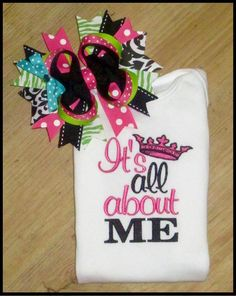 It's All About Me, Cute Saying embroidery, Baby Onsies and Hair Bow Set for Girls