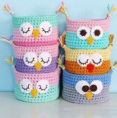 Crochet Owl Basket From TShirt Yarn Tshirt yarn Animals - Crochet baskets Knitted baskets for the house Baby baskets Baskets to store toys Interior basket Baskets for small things. Owl Baskets Cute by Photo by . Basket Weave with spaghetti rope - Page 4 Crochet Owl Basket, Crochet Owls, Crochet Basket Pattern, Knit Basket, Crochet Yarn, Crochet Patterns, Crochet Frog, Basket Weaving, Crochet Ideas